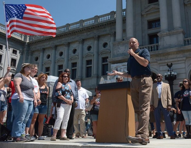 State Sen. Doug Mastriano (R-Franklin) speaks at a Capitol steps rally in Harrisburg on June 5, 2021. - CAPITAL-STAR PHOTO BY STEPHEN CARUSO