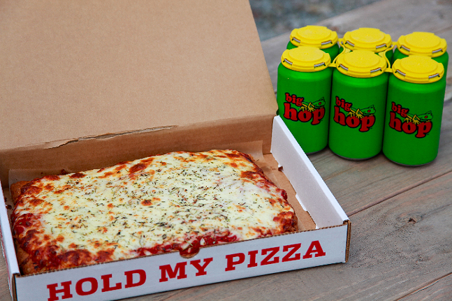East End Chewing pizza and six pack of Big Hop - PHOTO: COURTESY OF EAST END BREWING
