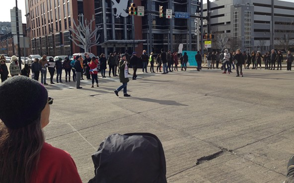 Protesters block South Side intersection to decry Pittsburgh-area deportations - CP PHOTO BY RYAN DETO