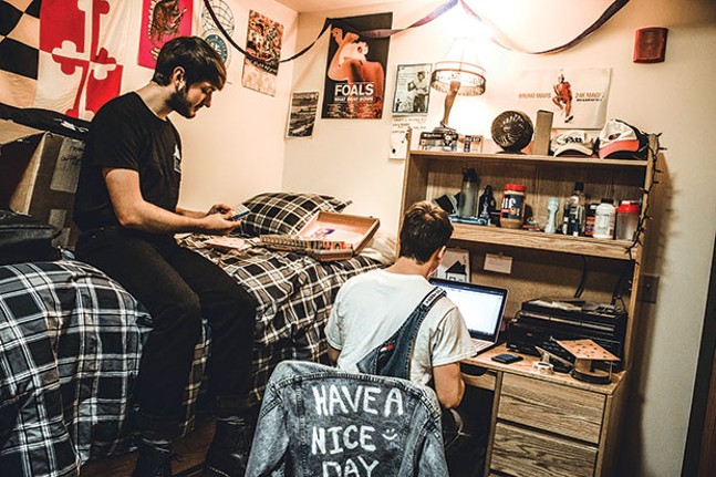 """Surf Bored's Ryan Hartman (left), with Murray in Crafted Sounds' """"office"""" - CP PHOTO BY KATEY LADIKA"""