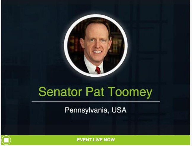 Senator Pat Toomey's telephone town hall page - IMAGE COURTESY OF VIDEO.TELEFORUMONLINE.COM