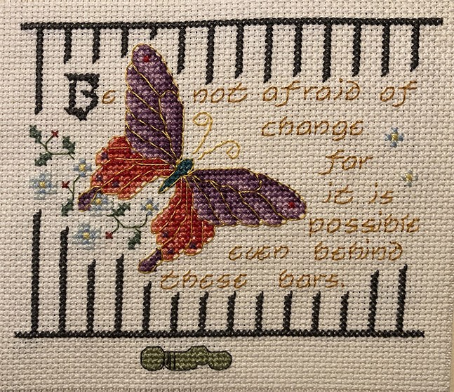 Be Not Afraid to Change by Latosha Gross, 2020; cross-stitch - PHOTO: COURTESY OF LET'S GET FREE