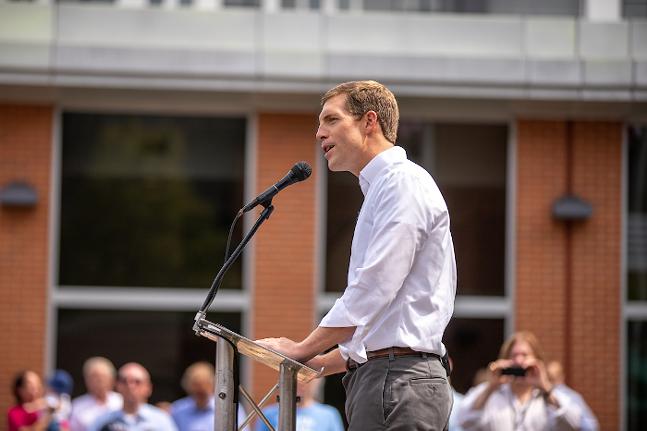 Conor Lamb announcing his run for U.S. Senate in Pittsburgh on Fri., Aug. 6. - CP PHOTO: KAYCEE ORWIG