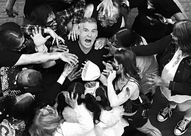 Zombies surround Mike Palmer of Steel-Man: The Movie - COURTESY OF MIKE PALMER