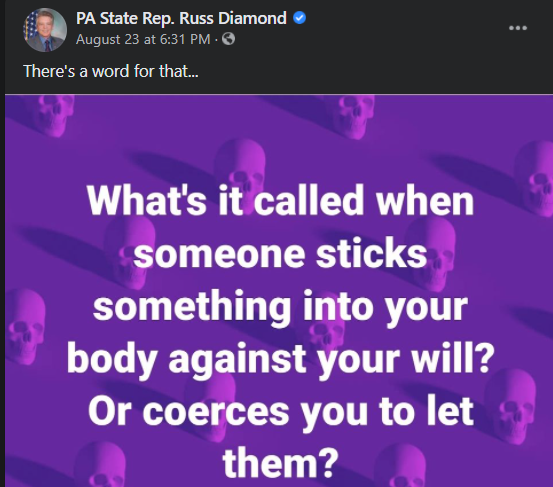 A screen capture of the Aug. 23 Facebook post by state Rep. Russ Diamond - (CAPITAL-STAR SCREEN CAPTURE)