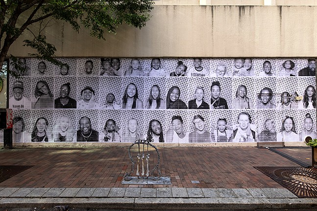 Portraits put up on the Sixth and Penn Garage - PHOTO: COURTESY INSIDE OUT PROJECT