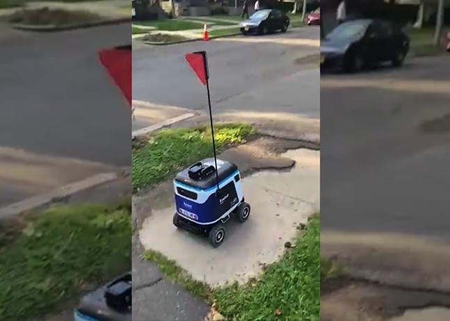 A Kiwikbot autonomous delivery robot in Pittsburgh's Bloomfield neighborhood - PHOTO: COURTESY OF CHRIS BRIEM