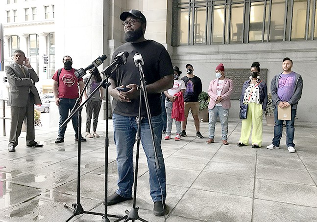 MAN-E speaks in the portico of the City-County Building during a press conference on Wed., Sept. 15, 2021. - CP PHOTO: RYAN DETO