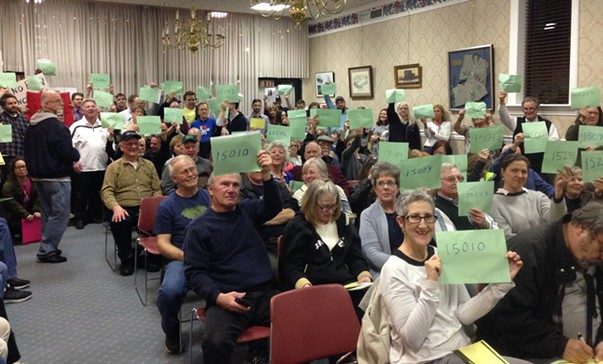 Keith Rothfus constituents holding up their ZIP codes at event in Beaver - CP PHOTO BY RYAN DETO
