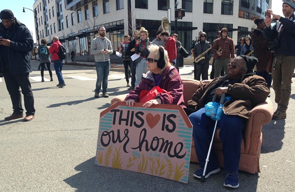 Affordable-housing advocates occupying the intersection of Centre and Penn avenues in East Liberty - CP PHOTO BY RYAN DETO