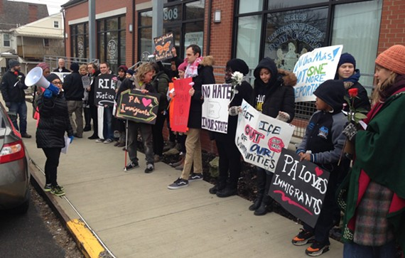 Immigrant-rights advocates and constituents protest outside Dom Costa's office in Morningside. - CP PHOTO BY RYAN DETO