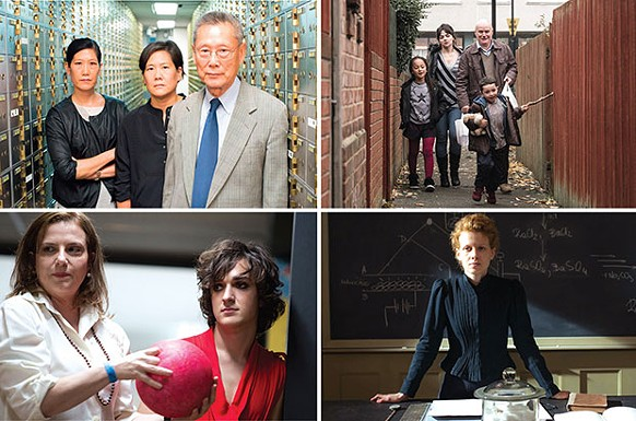 Clockwise from top left: Abacus: Small Enough to Jail; I, Daniel Blake; Marie Curie: The Courage of Knowledge; and Don't Call Me Son