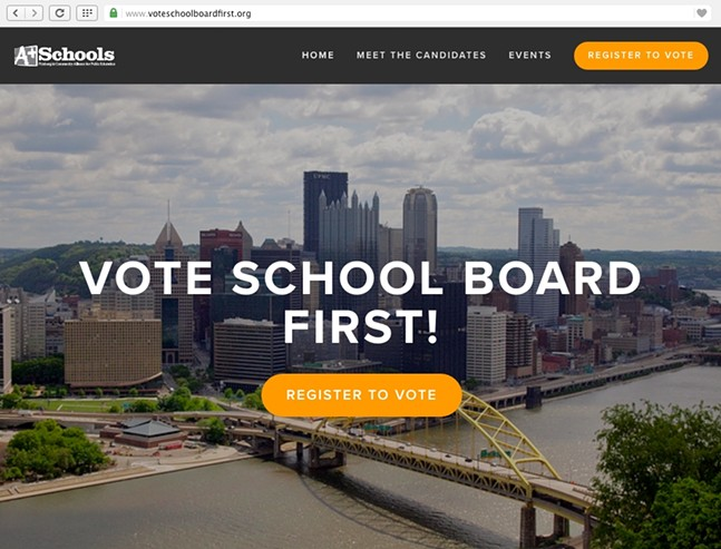 Screenshot of wwww.voteschoolboardfirst.org