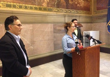 Environmental advocates at a press conference in the Allegheny County Courthouse. - CP PHOTO BY RYAN DETO