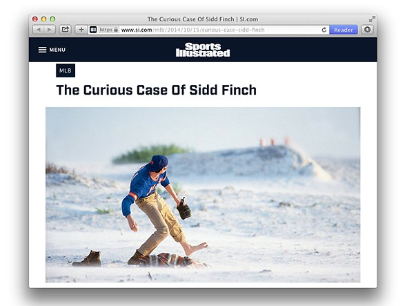 "Sports Illustrated's ""The Curious Case of Sidd Finch"" - SCREENCAP FROM WWW.SI.COM"