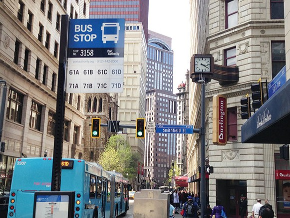 Bus stops like this one Downtown will be replaced by BRT stops, forcing some riders to transfer in Oakland. - CP PHOTO BY RYAN DETO