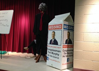 An empty suit and giant milk carton served as replacements to Congressman Tim Murphy - CP PHOTO BY RYAN DETO