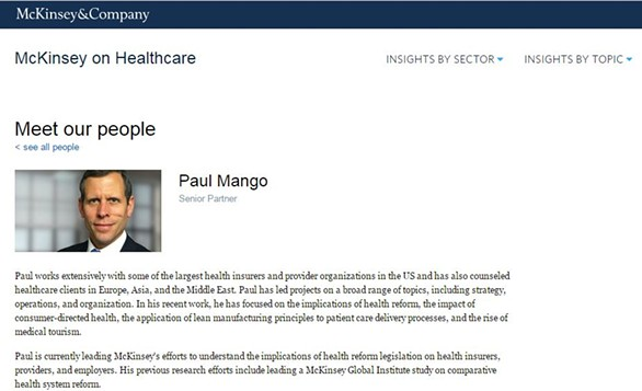 Republican gubernatorial candidate Paul Mango's McKinsey & Company profile page before it was removed this month - IMAGE COURTESY OF MCKINSEY & COMPANY