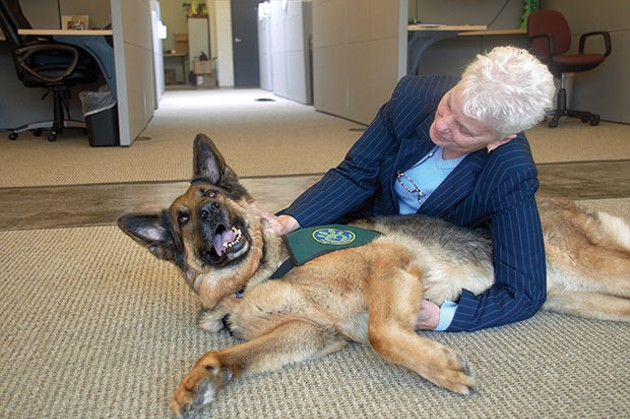 Debbie McManus, Center for Victims grants and contracts manager, with Gryffin - CP PHOTO BY JORDAN MILLER