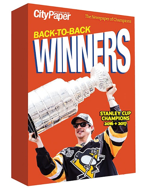 Back-to-back winners: This week's cover shows Sidney Crosby holding up the cup during Sunday's Stanley Cup win in Nashville; pictured here is Sidney Crosby holding up the cup during the 2016 Stanley Cup victory parade. - CP PHOTO BY LUKE THOR TRAVIS