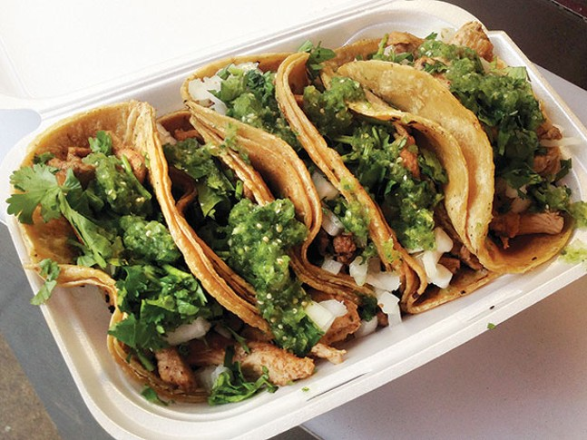 La Poblanita tacos garnished the traditional Mexican way - CP PHOTO BY RYAN DETO