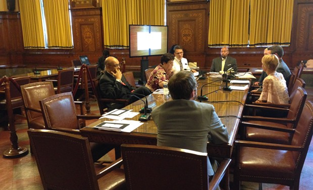 Pittsburgh City Councilors meet at an July 18 post-agenda meeting on affordable housing. - CP PHOTO BY RYAN DETO