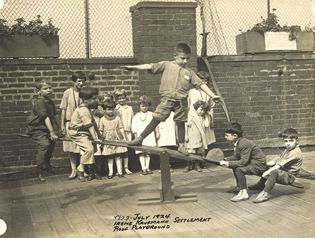 Kids on the Irene Kaufmann Settlement's rooftop playground, in the Hill District, in 1924 - PHOTO COURTESY OF THE HEINZ HISTORY CENTER