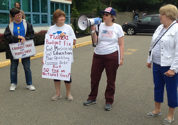 North Hills constituents speaking out against state Rep. Mike Turzai at a July 25 rally - CP PHOTO BY RYAN DETO
