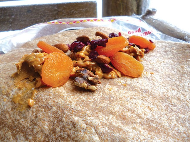 A Jen Brown trail meal: Whole-wheat tortilla with walnuts, apricots and peanut butter - PHOTO COURTESY OF JEN BROWN