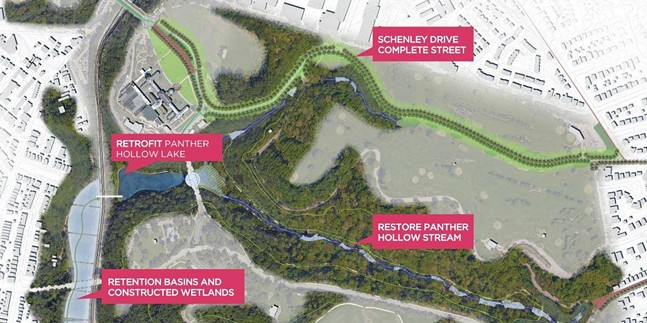 A mock-up of the Four Mile Run green infrastructure project - IMAGE COURTESY OF PHRONESIS DESIGN AND PITTSBURGH PARKS CONSERVANCY
