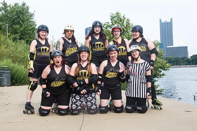 Members of the Steel City Roller Derby - CP PHOTO BY JORDAN MILLER