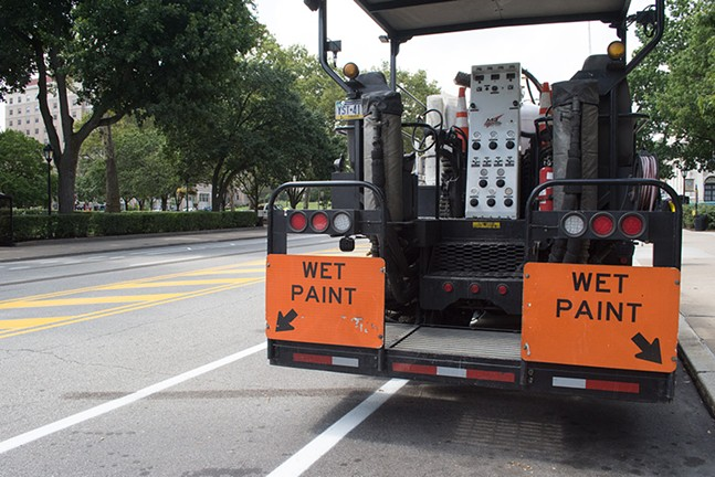 New bike lanes being painted in Oakland - CP PHOTO BY JAKE MYSLIWCZYK