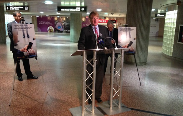 Rich Fitzgerald at Steel Plaza station in Downtown Pittsburgh - CP PHOTO BY RYAN DETO