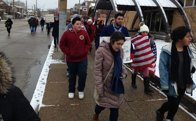 Young Pittsburgh immigrants and Dreamers march in a protest in February - CP PHOTO BY RYAN DETO