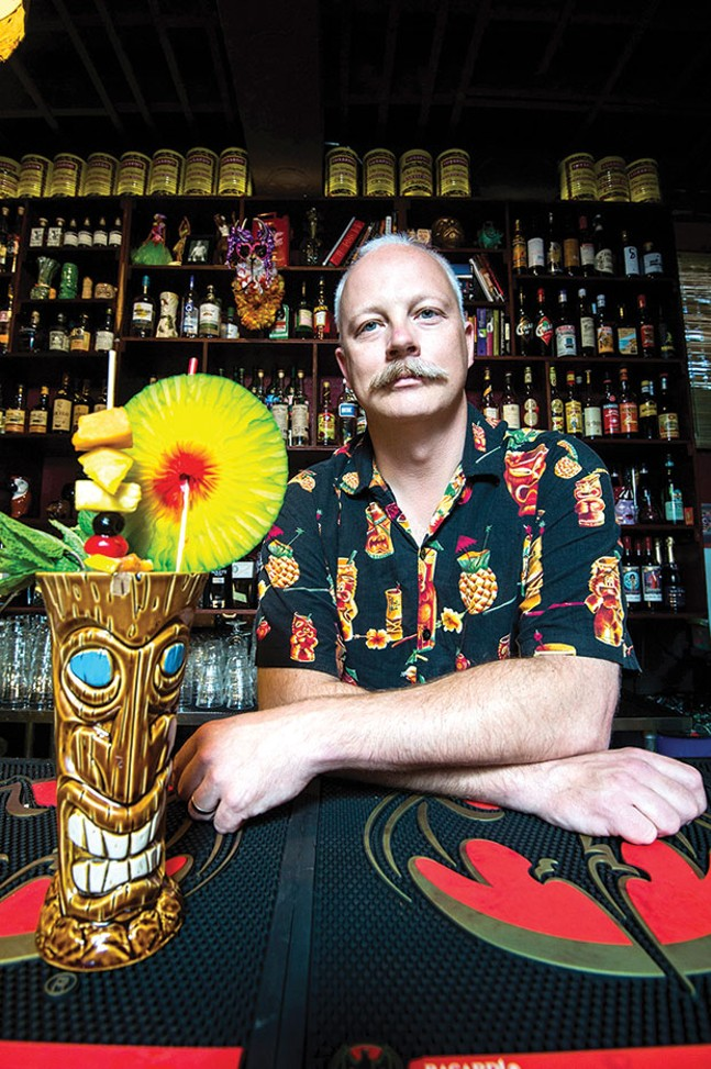 Stefan Was serves creative beverages at Porco Lounge and Tiki Room in Cleveland. - CLEVELAND PHOTO BY KEN BLAZE