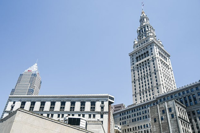 The Terminal Tower looms alongside Key Tower in downtown Cleveland. - CLEVELAND PHOTO BY ERIK DROST