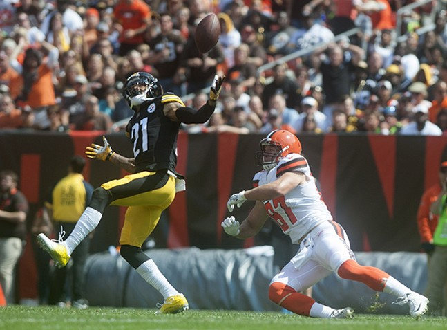 Steelers cornerback, and former Cleveland Brown, Joe Haden deflects a pass intended for the Browns' Seth DeValve.