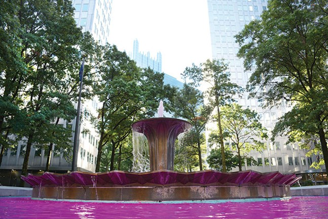 The fountain at Gateway Center in Downtown Pittsburgh is dyed pink this month for breast cancer awareness. - CP PHOTO BY STEPHEN CARUSO