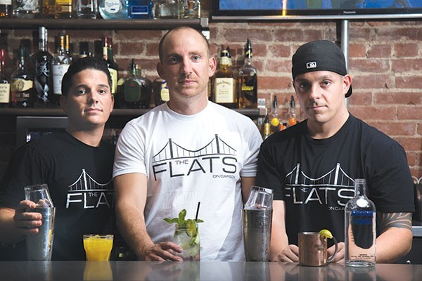 Mark Trunzo, Mark Seneca and David Turnzo at Best New Bar The Flats on Carson - PHOTO BY THEO SCHWARZ