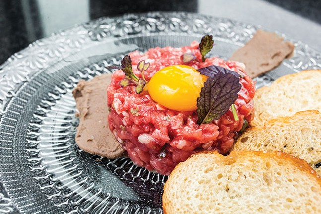 Beef tartare: New York strip, duck-liver mousse, chestnut, egg yolk and crostini - CP PHOTO BY VANESSA SONG