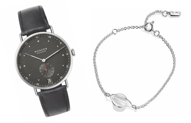 Nomos Glashutte Watch and Efva Attling Sterling Silver Bracelet