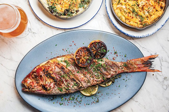 Red-spotted snapper with crab mac-and-cheese and creamed-spinach gratin - CP PHOTO BY VANESSA SONG