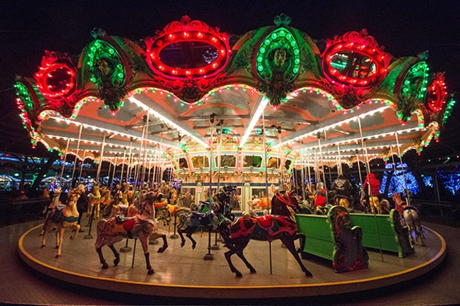 The carousel glows during Holiday Lights at Kennywood Park - CP PHOTOS BY JAKE MYSLIWCZYK