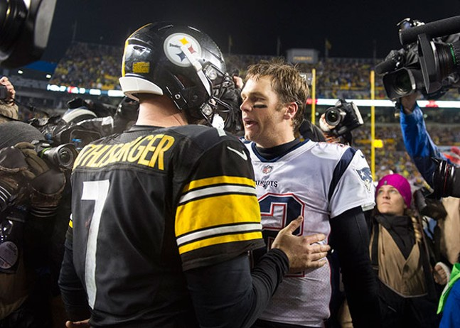 Ben Roethlisberger and Tom Brady embrace at the end of the Patriots victory.