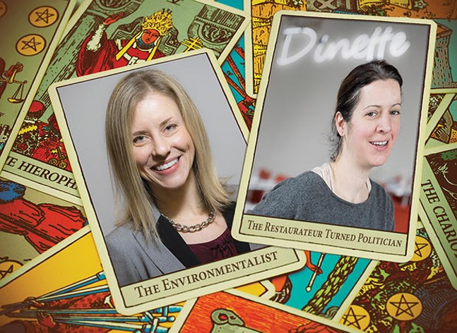 Environmental advocate Erika Strassburger (left) and chef/owner of Dinette Sonja Finn (right) are running for Pittsburgh City Council. - CP PHOTO OF SONJA FINN BY RENEE ROSENSTEEL