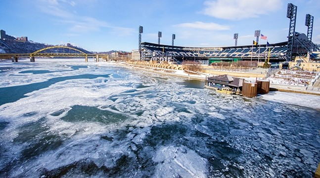 The frozen Allegheny River near PNC Park in Pittsburgh - CP PHOTO BY JAKE MYSLIWCZYK