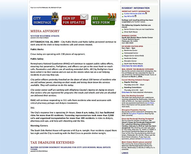 City of Pittsburgh website circa 2010 - IMAGE COURTESY OF INTERNET ARCHIVE: WAYBACK MACHINE