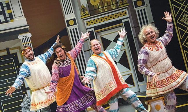 Left to right: Jimmy Kieffer, Jeff Howell, Gavan Pamer and Stephen DeRosa in A Funny Thing Happened on the Way to the Forum, at Pittsburgh Public Theater - PHOTO COURTESY OF MICHAEL HENNINGER