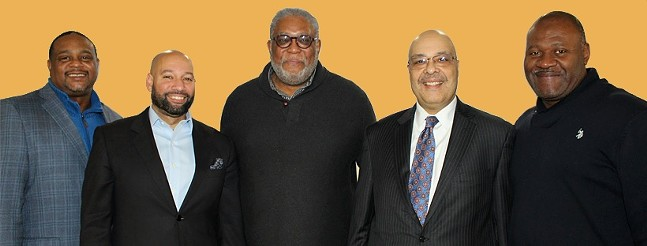 From left to right: Ed Gainey, Daniel Lavelle, DeWitt Walton, Ricky Burgess and Jake Wheatley - PHOTO COURTESY OF PITTSBURGH BLACK ELECTED OFFICIALS COALITION