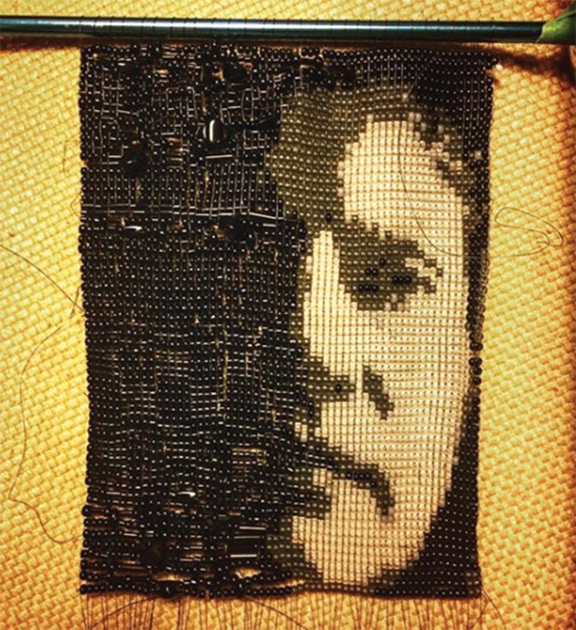 A beaded self-portrait by Caldwell Linker - PHOTO COURTESY OF INSTAGRAM.COM/CALDWELLBEADS